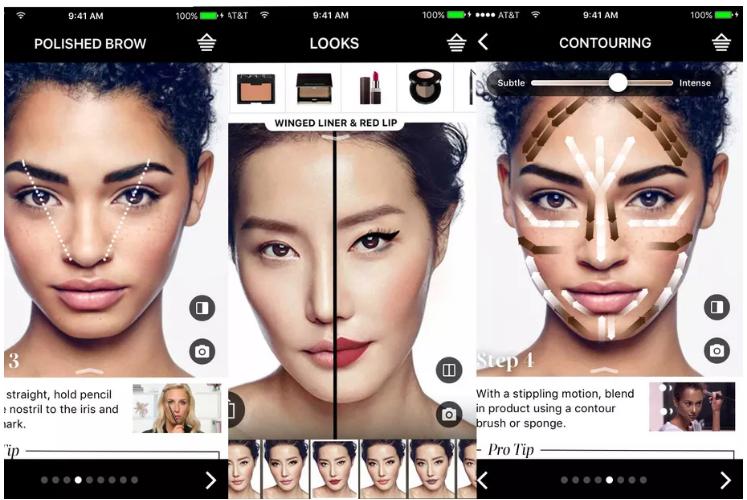 AR증강현실 회사 ModiFace와 제휴를 통해 제공된 첨단 기술을 통해 고객은 사진의 얼굴을 스캔한 다음, 입술과 눈의 위치를 파악해서 다양한 메이크업 시도를 할 수 있습니다